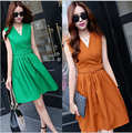 2016 New Arrival Summer Women One-piece Dress Solid A-line Sexy V-neck Dress With Belt Plus Size S-XL 4 Colors