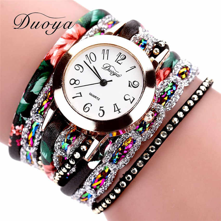 #5001 2019 New Watches Women Flower Popular Quartz Watch Luxury Bracelet Women Dress Lady Gift Flower Gemstone Wristwatch