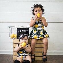 Newborn Toddler Baby Girls Fruit Lemon Bodysuit Romper Sunsuit+Sleeveless Lemon Dress Sister Matching Outfits Clothes 0-2Yrs