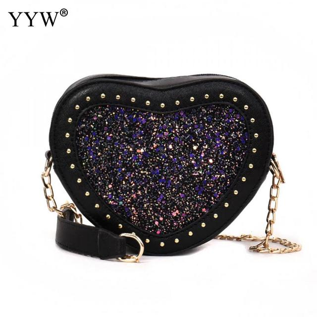 1fb7957b2fc Women Messenger Bags Leather Hart Bags Small Lady Bolsos Mujer Black Fashion  Cross Body Cute Sequined