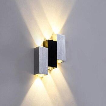 12 יח'\חבילה 6W קיר מנורות מקורה מנורת כיכר Led ספוט אלומיניום מודרני שחור לבן עיצוב הבית אור עבור שינה אוכל חדר
