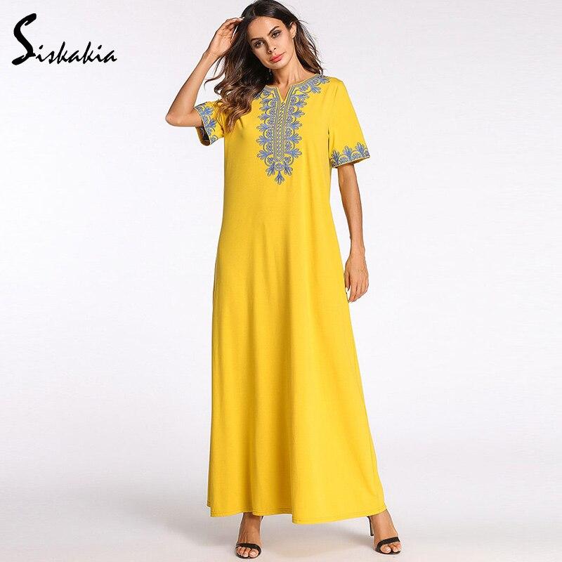 Hot Sale Siskakia Vintage Ethnic Embroidery Maxi Dresses Women Slim