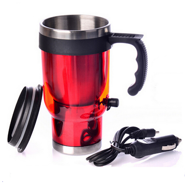 Car Heating Cup 12v 450ml Coffee Electric Mug With Cigarette Lighter Red And Blues Steel Travel