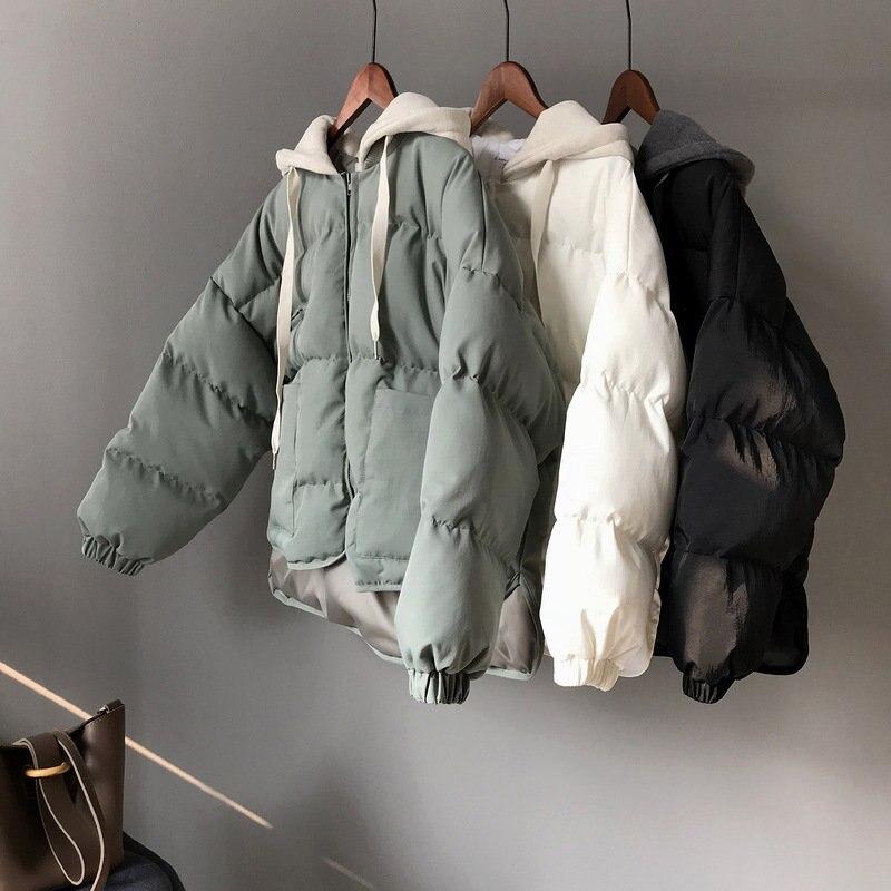 Зимняя пуховая хлопковая куртка Женская Harajuku BF Стиль Толстое Зимнее пальто с капюшоном парки Mujer куртка хлопок 2019 верхняя одежда C4798