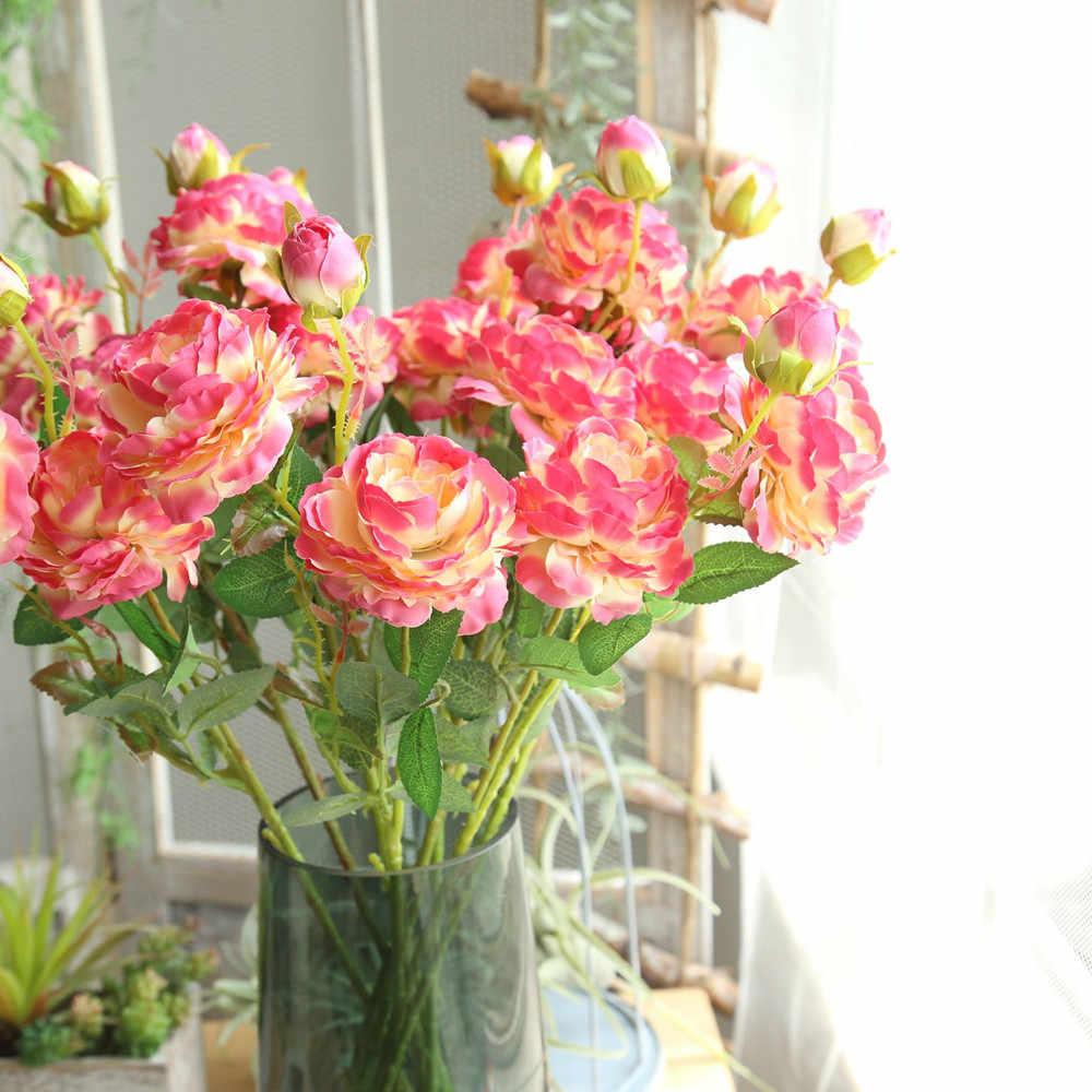 Künstliche Gefälschte Western Rose Blume Pfingstrose Braut Blumenstrauß Hochzeit Home Decor künstliche blumen valentinstag geschenk versieringen