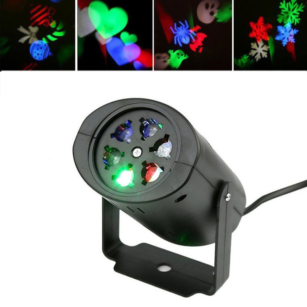 Laser Projector Lamp Mini LED Stage Light Heart Snow Spider Bowknot Bat Christmas Party DJ Laser Lighting With 4 pattern lens christmas heart snowflake halloween spider bowknot projector lights led stage lamps