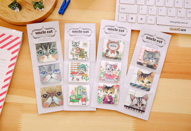 Cute Uncle Cat Magnetic Bookmark Fashion DIY Cartoon Paper  School Office Supply  For Book Gift  Korean Papelaria