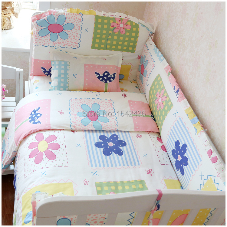 Baby Bedding Sets Newborn 100 Cotton Kit Crib 7pcs Set Cute Pattern Free Shipping