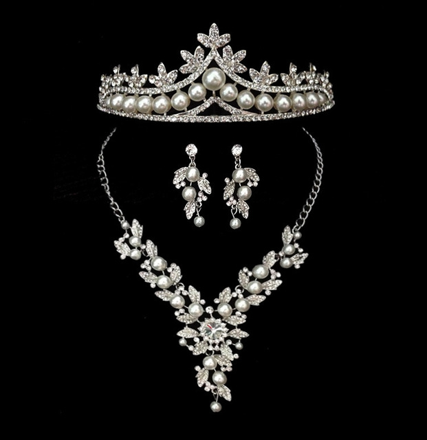New Crystal Bridal CZ Diamond-Jewelry Wedding Accessories Earrings Necklaces Tiara Simulated Pearl Jewelry Sets Bride Ornaments