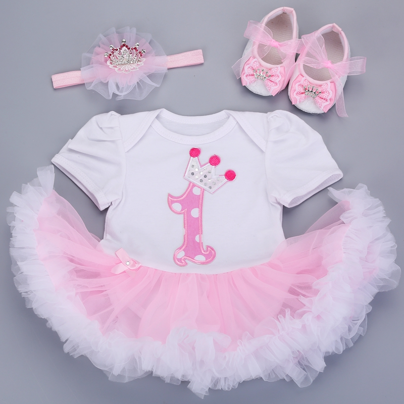 0-3 months baby girl dresses headband shoes set infantil Children's clothing set girls tutu kids wear puff short sleeve vestido
