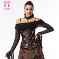 Brown Gothic Steampunk Clothing Women Plus Size Waist Trainer Corset Steel Boned Underbust Corsets And Bustiers Sexy Korset 6XL