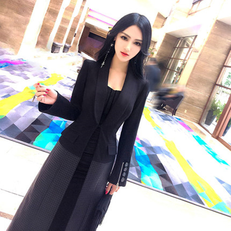 Costume Coréen Dames Printemps Vent 2018 Long Noir Type Nouveau Tempérament De Manteau Fashionista Mince Couture kZuTOPXwi