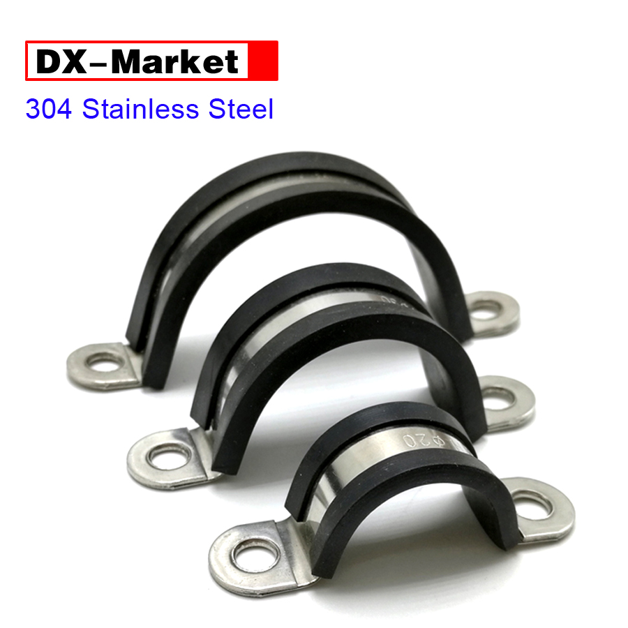 6mm-200mm Saddle Clamp cable fixing clip ,304 stainless steel C type rubber clamps , 16mm Steel width 35mm 110mm 304 stainless steel saddle clamp antirust cable clip water pipe fixing bracket clamp
