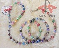 Colorful Clay Beads Dog Leash Eco Friendy Dog Leash Flower Printed Beads Dog Leash Pet Beads