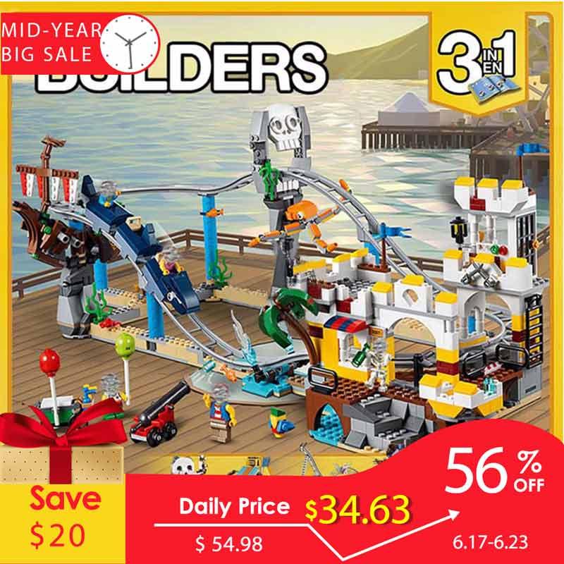 956 pièces 3 en 1 Pirate montagnes russes Minecraft Pirates chiffres blocs de construction enfants éducation imagination jouets pour enfants