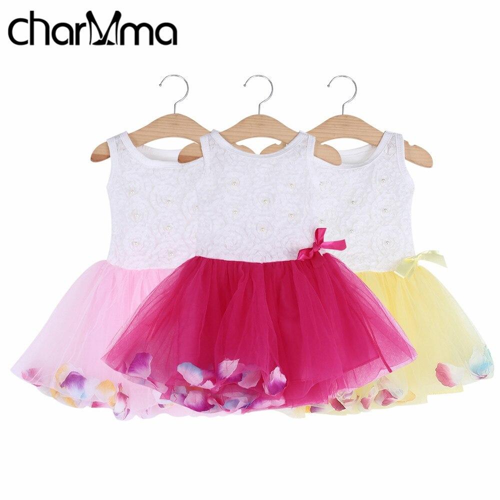 Bebé summer dress niños ropa de bebé de algodón pétalos hem tutu dress gasa newb