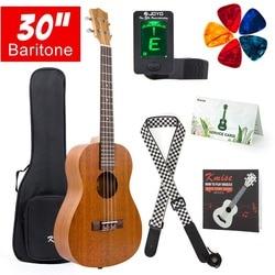 Kmise baritone ukulele 30 Polegada mogno uke 4 cordas guitarra havaí
