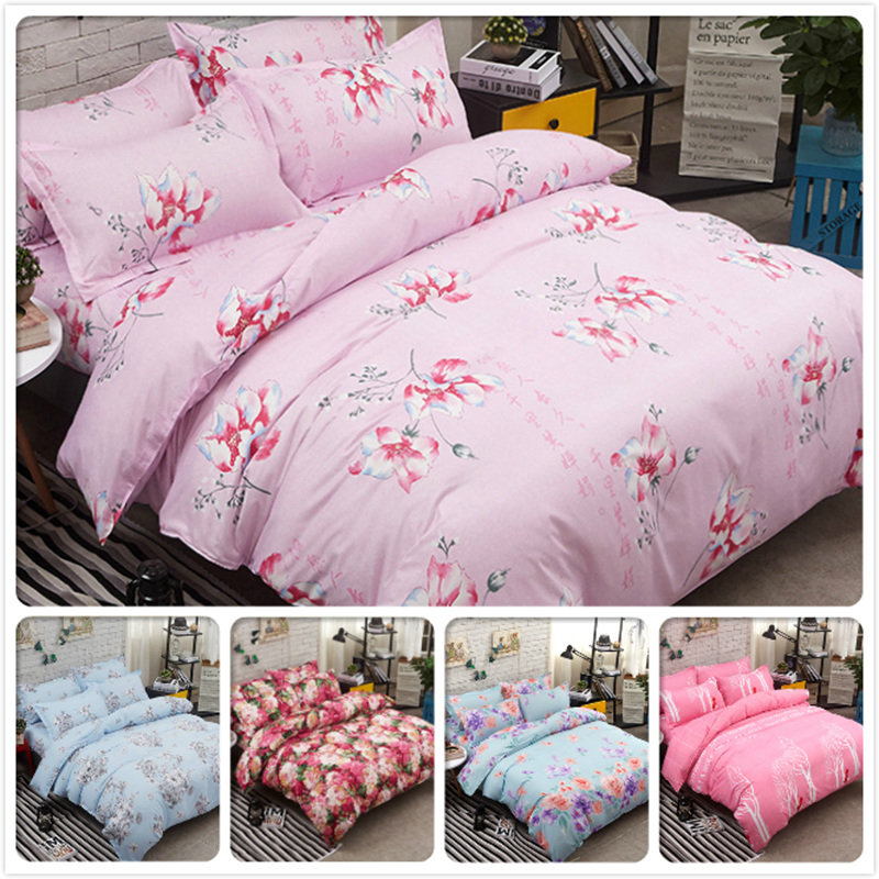 Pink Flower Print Cotton Bed Linen 3/4 pcs Bedding Set Big Size Duvet Cover Double Full King Queen Twin Single Kids Bedlinen 200