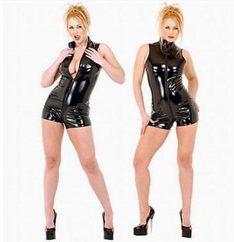 Plus Size S-XXL Clubwear Black Latex Short Bodysuit