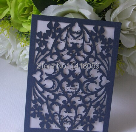 Royal Blue Black And White Damask Photo Template Wedding Invites With Ribbon