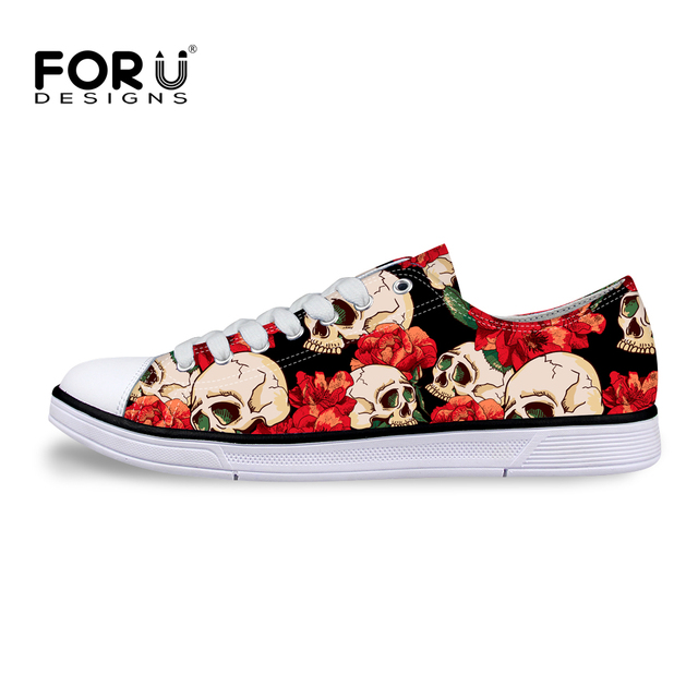 FORUDESIGNS Fashion Women Low Canvas Shoes Casual Classic Punk Skull Print Shoes,Woman Cartoon Zombie High Quality Leisure Flats
