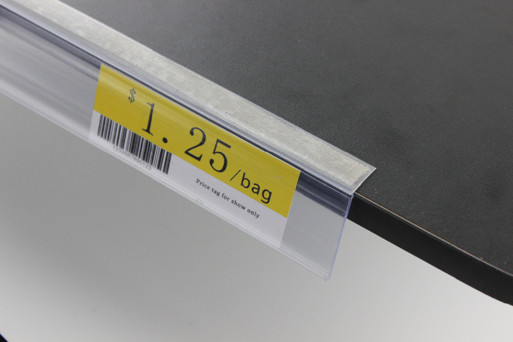 42 millimetri di larghezza PVC bianco trasparente prezzo di scansione frame L angolo adesivo canale scaffale supporto del segno striscia dati promozione scaffale talker-in Cornice da Casa e giardino su  Gruppo 2