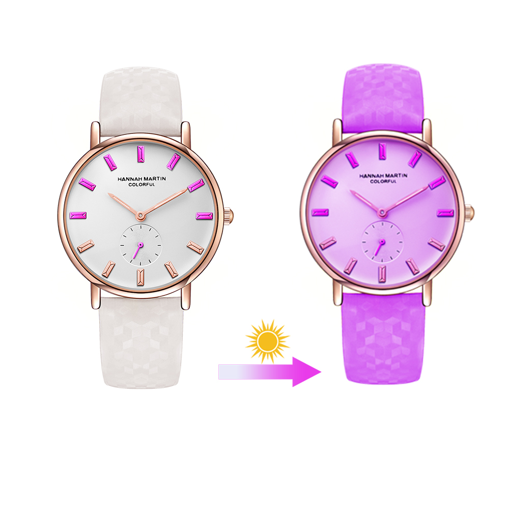 Hannah Martin Fashion Women Creative Color-Changing Watch Top Brand Leather Strap Students Cool Wristwatch Dropshipping Relogio