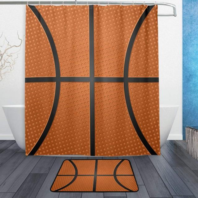 Lovely Basketball Orange Shower Curtain And Rug Set Waterproof Polyester Bath Mat Bathroom Decor