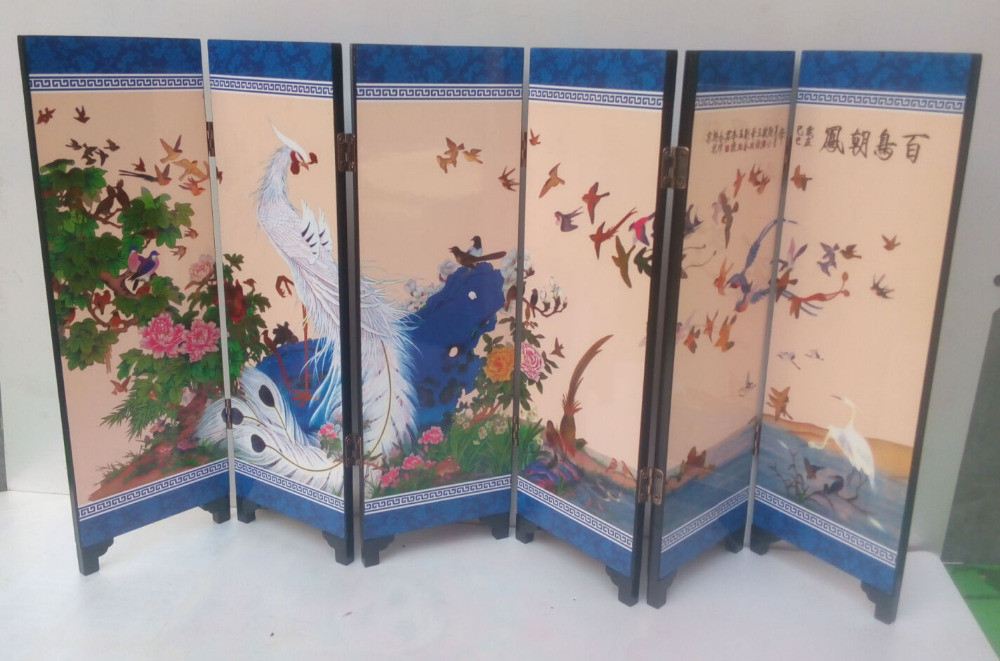 TNUKK Delicate Chinese lacquer painting by hand *Birds Pay Homage *decorated fold screen.