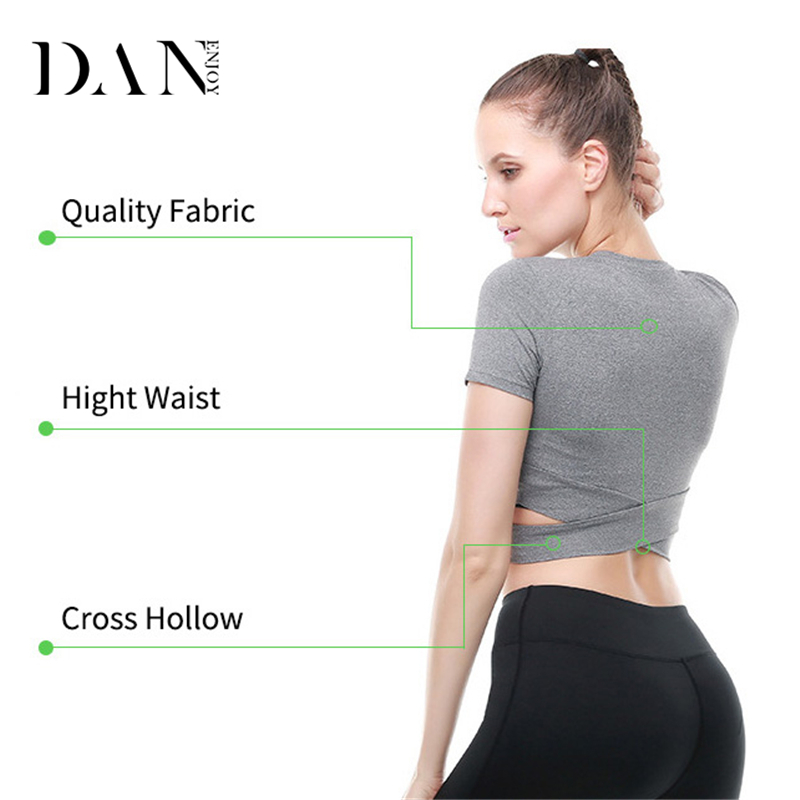 DANENJOY Yoga Shirts Top Women Sport T-Shirts Fitness Compression Running Short Sleeve Shirts Tee Cross Hollow Workout Blouse