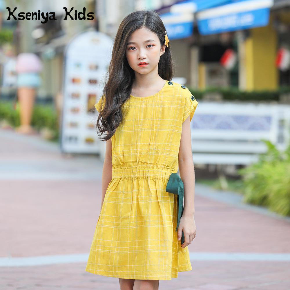 Kseniya Kids Preppy Style Girls Summer Cotton Dresses Petal Sleeve With Sashes Dress Princess Girl Birthday Clothes Casual Dress