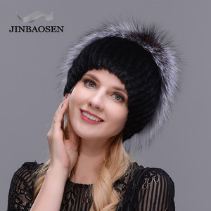 Image 4 - รัสเซียแฟชั่นMink Furหมวกผู้หญิงฤดูหนาวWarm Foxหมวกถักผู้หญิงใหม่ขนสัตว์ธรรมชาติและเจาะน้ำสกีหมวก