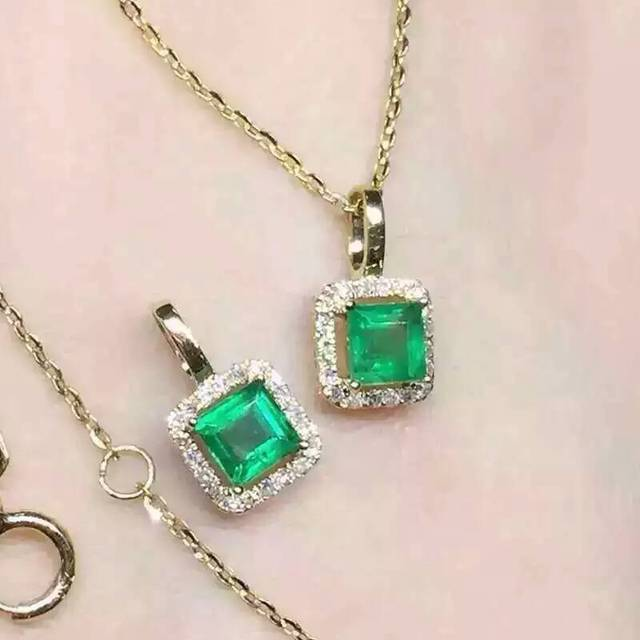 Natural emerald pendants 925 sterling silver natural green gem natural emerald pendants 925 sterling silver natural green gem square pendants simple fine jewelry for women aloadofball Choice Image