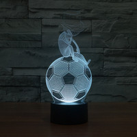 Hot NEW 7color Changing 3D Bulbing Light Think Of Football Visual Illusion LED Lamp Creative Action