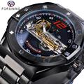 Мужские часы Forsining  прозрачные автоматические механические часы с ремешком из нержавеющей стали