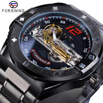 Forsining Transparent Automatic Men Watch Golden Bridge Mechanical Black Stainless Steel Band Skeleton Watches Relogio Masculino 2017 forsining china brand men watches dress automatic self wind watch black tourbillion dial imported 316l stainless steel band
