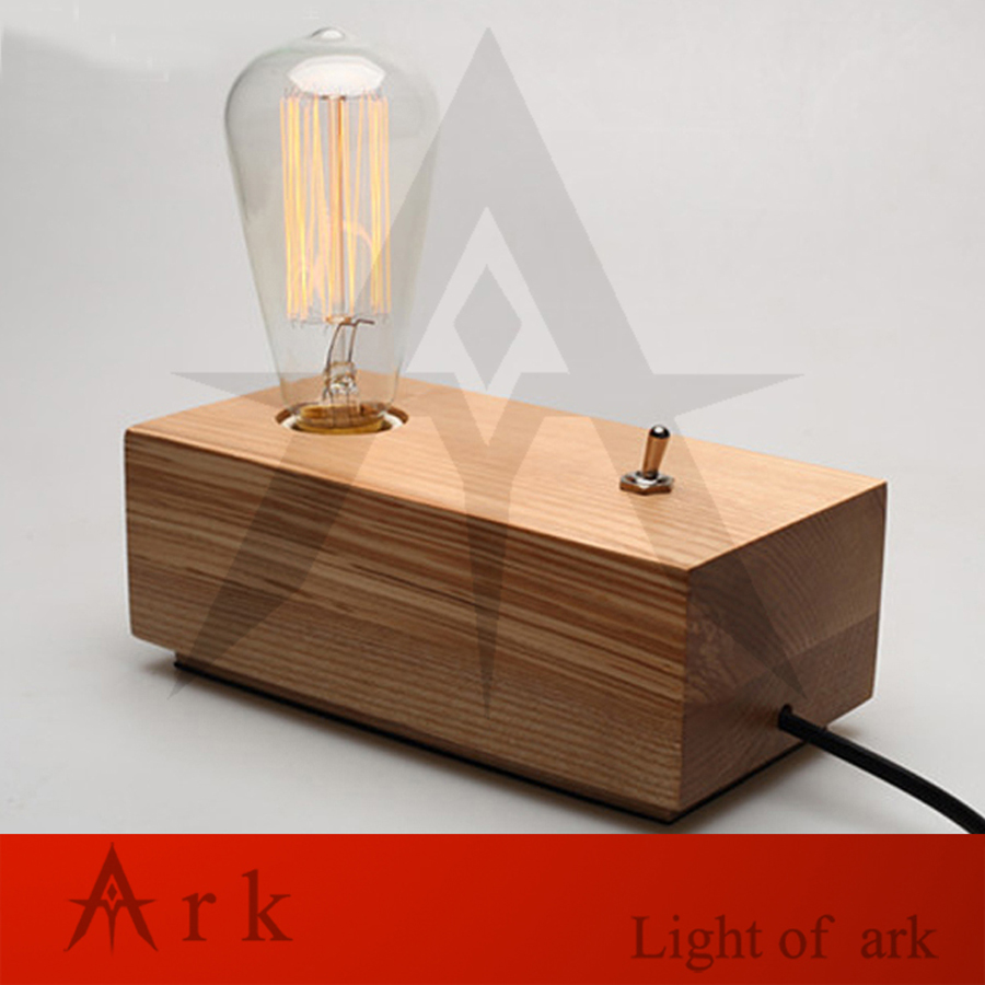 Vintage Rustic Edison Desk Lightings Table Lamp For Decoration,E27/E26 Edison Bedside Wooden Table Light For Bedroom