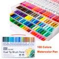 24/60/100 cores fineliner desenho pintura marcador ponta dupla arte marcador aguarela dupla escova caligrafia caneta