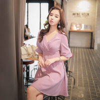 Dabuwawa Autumn Pink Dress Women 2018 New V neck Latern Sleeve Elegant Midi Dress Lady Charming Sweet Date Party Dress