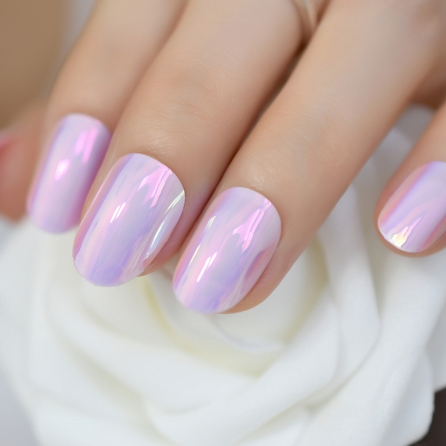 Iridescent Pink Instant Nails Chrome Mirror Fake Nails Oval Short ...