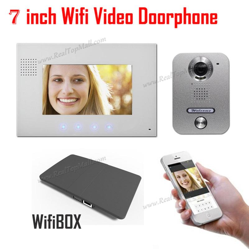 Wireless WiFi IP Video Doorphone Metal Waterproof HD Camera Video Doorbell Intercom System with 7 inch LCD Monitor 700TVL 7 inch video doorbell tft lcd hd screen wired video doorphone for villa one monitor with one metal outdoor unit night vision