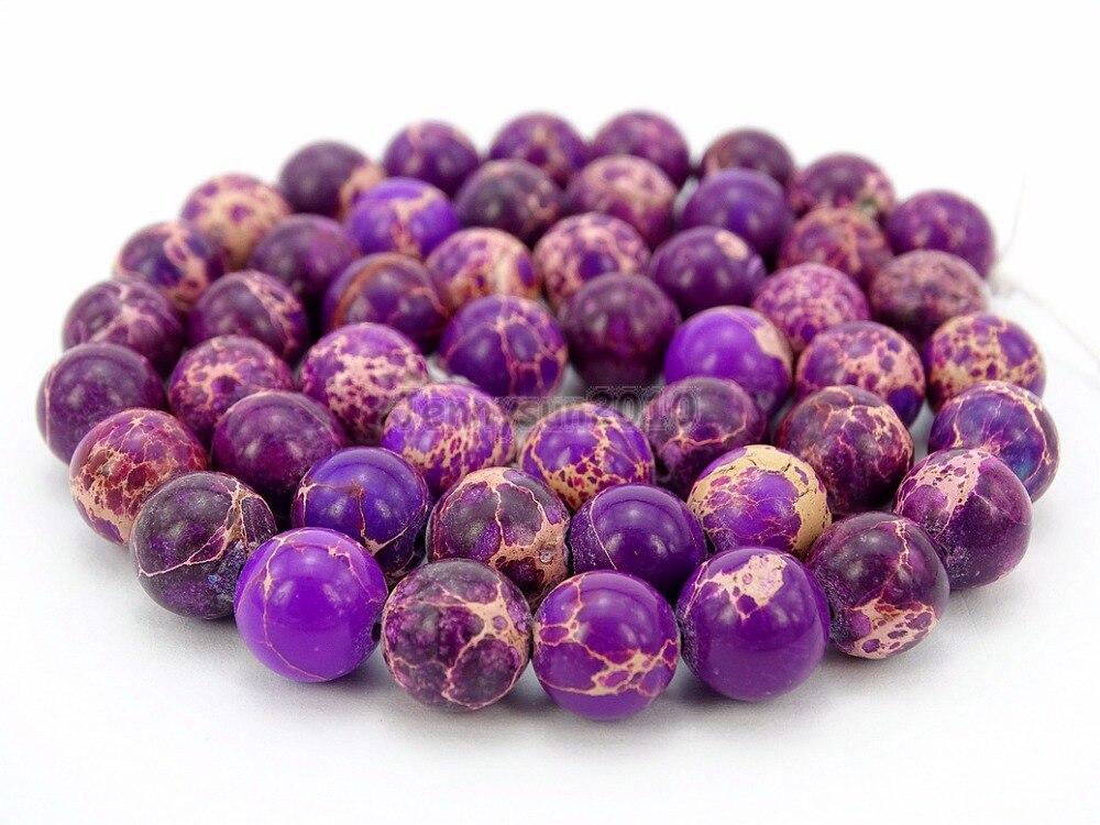 Natural Purple Sea Sediment Jas per Gems Stone Round