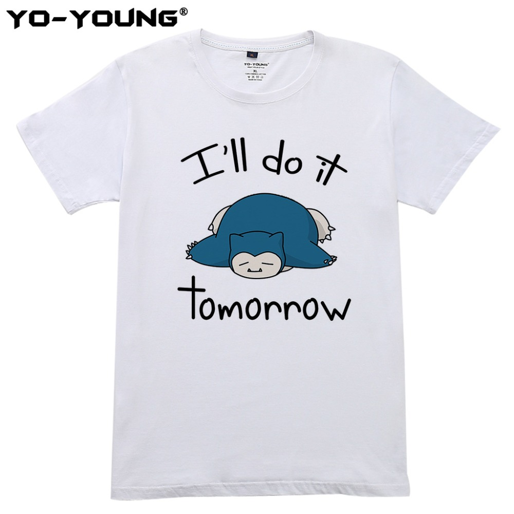 new-summer-men-t-shirts-anime-font-b-pokemon-b-font-snorlax-i-will-do-it-tomorrow-digital-printed-100-180gsm-combed-cotton-top-tees-homme