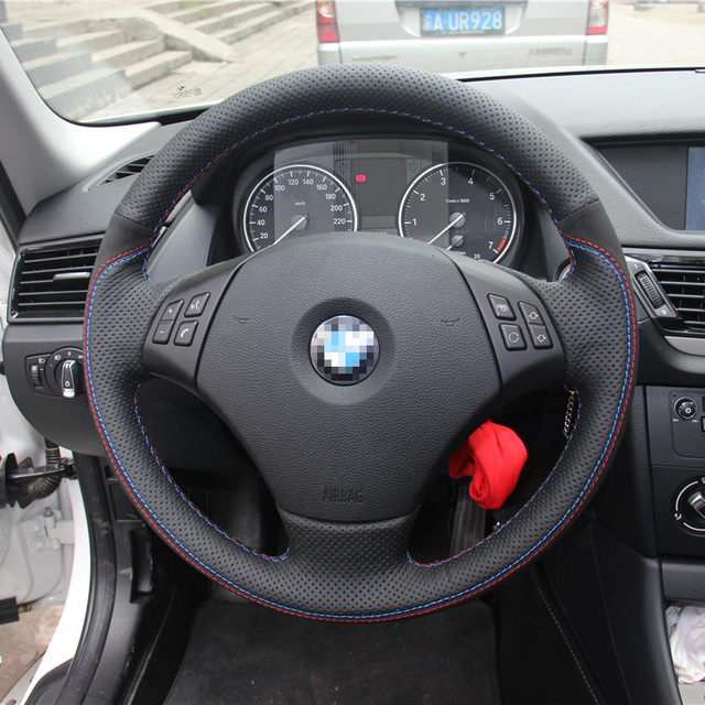 Car Styling New Anti Slip Swede Leather Steering Wheel Stitch On
