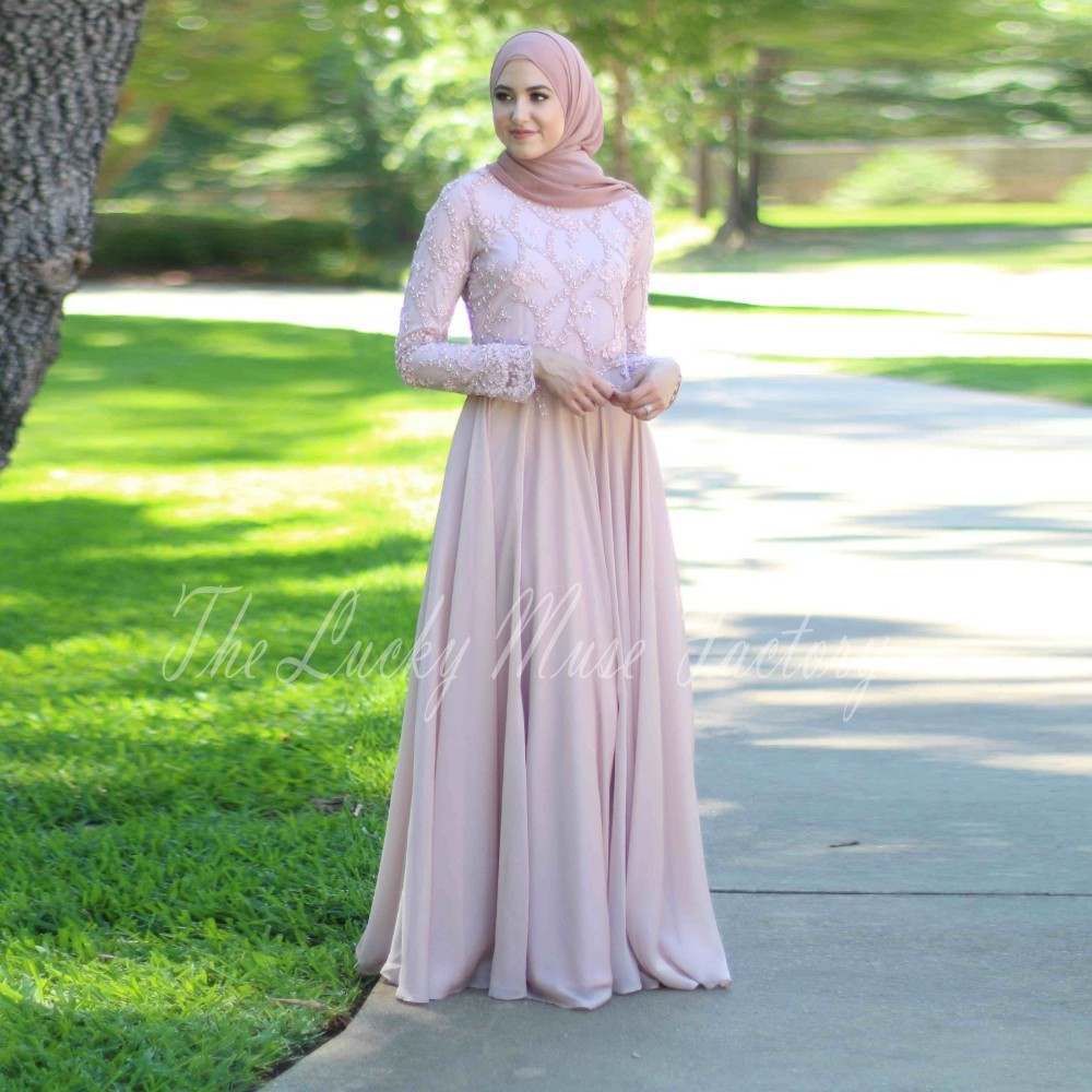 2017 Muslim Prom Dresses A line Long Sleeves font b Hijab b font Islamic Dubai Abaya