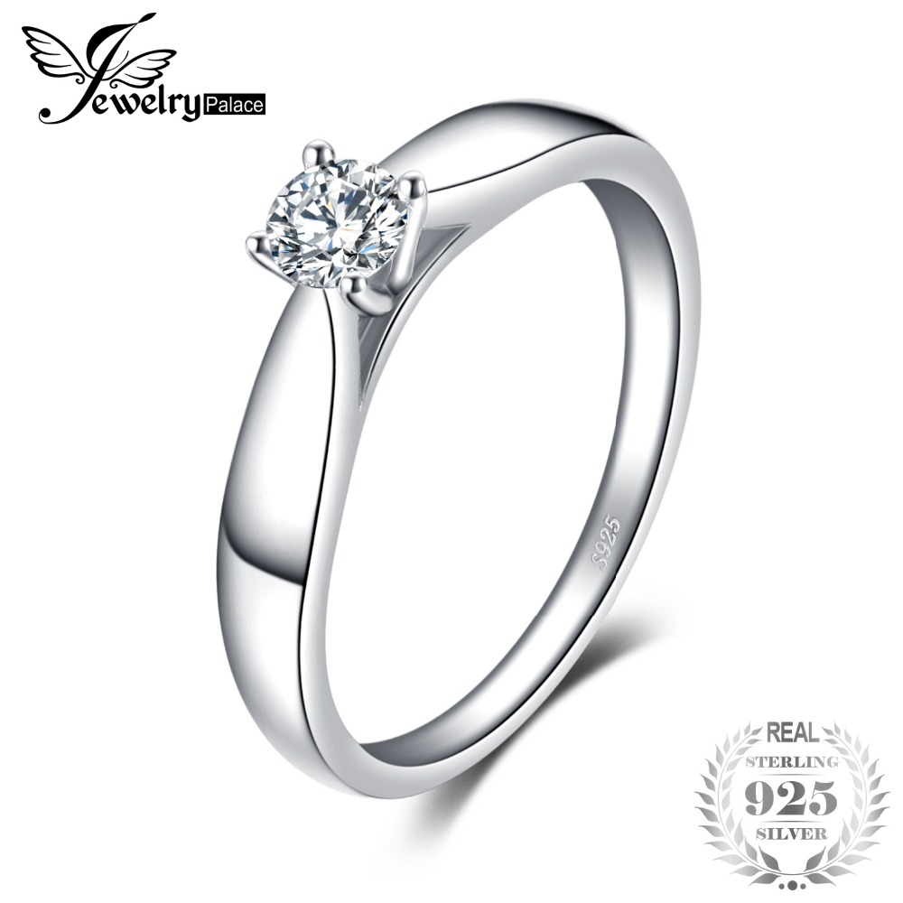 SmykkerPalace 925 Sterling Silver 0.2ct Cubic Zirconia Solitaire Engagement Ring For Kvinder Nye Simple Finger Ring Trendy Smykker