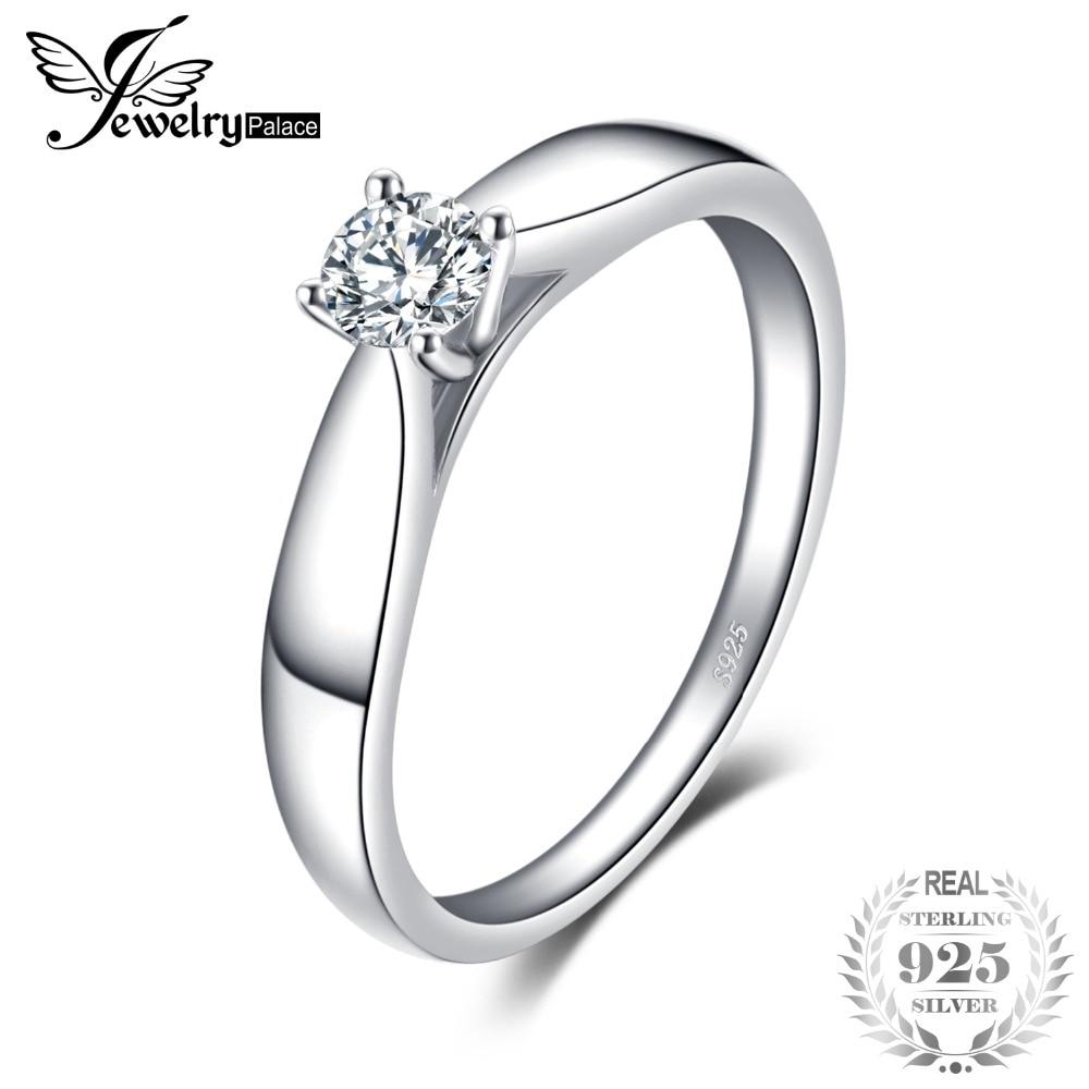 b7591a3e5841 JewelryPalace encantadora 0.2ct compromiso solitario anillo genuino 925  plata esterlina chapados en rodio joyas para
