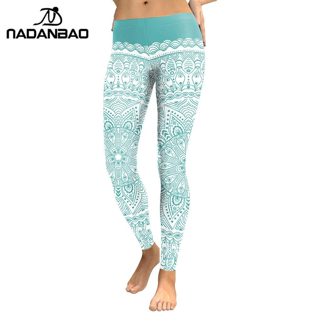 394a80cb0b5 NADANBAO New Arrival Women 2018 Leggings Aztec Round Ombre Flower Digital  Print Fitness Leggins Green Plus Size Workout Pants