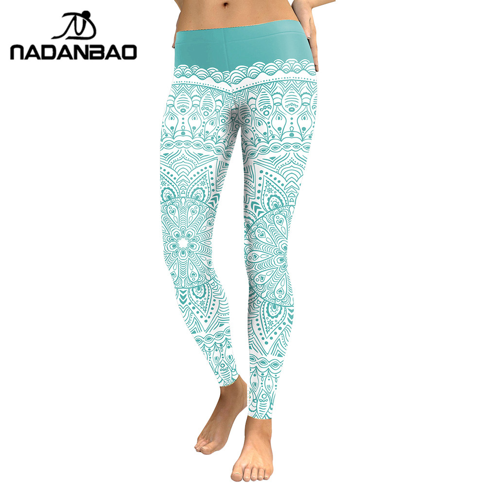NADANBAO New Arrival Women 2019 Leggings Aztec Round Ombre Flower Digital Print Fitness Leggins Green Plus Size Workout Pants