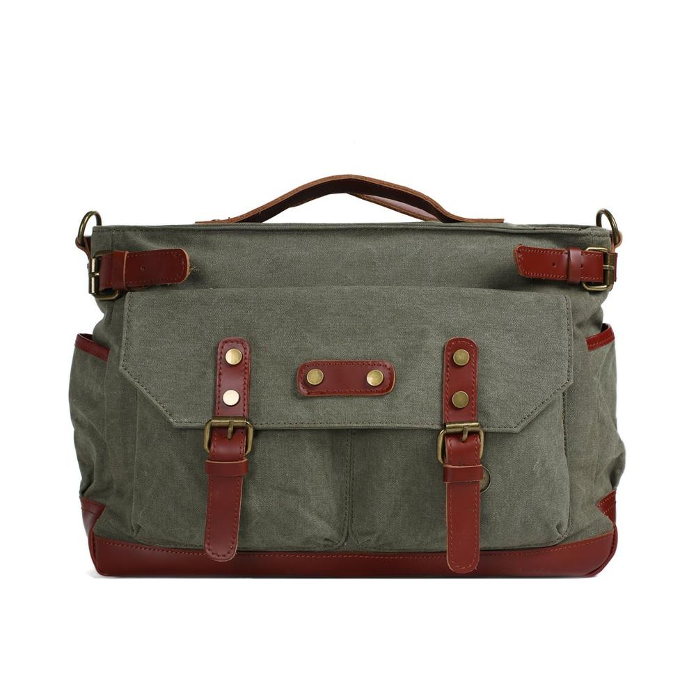 ROCKCOW Canvas Leather Travel Bag, Waxed Canvas Laptop Bag Duffle Briefcase 1859